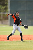 Miami Marlins infielder Juancito Martinez (44) during a minor league spring training game against the New York Mets on March 28, 2014 at the Roger Dean Stadium Complex in Jupiter, Florida.  (Mike Janes/Four Seam Images)