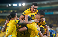 30th April 2021; Wellington, New Zealand;  Hurricanes celebrate a try.  Hurricanes versus  Highlanders, Super Rugby, Sky Stadium, Wellington New Zealand, Friday 30 April 2021.