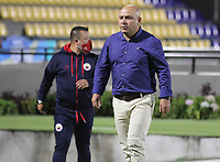 PASTO - COLOMBIA, 11-04-2021: Geovanny Ruiz asistente técnico del Pasto gesticula durante partido por la fecha 18 como parte de la Liga BetPlay DIMAYOR I 2021 entre Deportivo Pasto y Atlético Junior jugado en el estadio Departamental La Libertad de Pasto. / Geovanny Ruiz technical assistant of Pasto gestures during match for the date 18 as part of BetPlay DIMAYOR League I 2021 between Deportivo Pasto and Atletico Junior played at Departamental La Libertad stadium in Pasto.  Photo: VizzorImage / Leonardo Castro / Cont