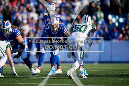 Buffalo Bills tackle Dion Dawkins (73) on the line during an NFL football game against the New York Jets, Sunday, December 9, 2018, in Orchard Park, N.Y.  (Mike Janes Photography)