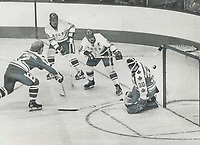 An anxious moment for team Canada 74. Team Canada goalie Gerry Cheevers; his stick lying loose at his knees; appears to be helpless with his net wide open during action at night in opening game of 8-game hockey series with Soviet Union national team<br /> <br /> PHOTO :  Jeff Goode - Toronto Star Archives - AQP