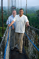 Peter Greenberg and President Correa of Ecuador over the Amazon rain forest during filming of The Royal Tour