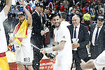 Real Madrid's Sergio Rodriguez, Rudy Fernandez and the coach Pablo Laso celebrate the victory in the Euroleague Final Match. May 15,2015. (ALTERPHOTOS/Acero)