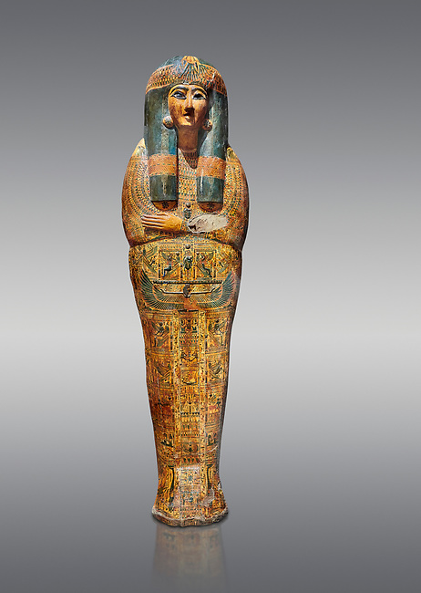 Ancient Egyptian sarcophagus outer coffin of singer Tabakenkhonsu, Temple of Hatshepsut at Deir el-Bahri, Thebes, 2nd half of 21st Dynasty, 680–670 B.C. Egyptian Museum, Turin. Grey background.<br /> <br /> The deceased is depicted with her hands rendered in high relief on top of a wesekh collar. a stylistic trait that allows the coffin to be dated from the late 21st Dynsaty. the outer coffin is of great quality depicting mythological scenes derived from the Book of the Dead spells.
