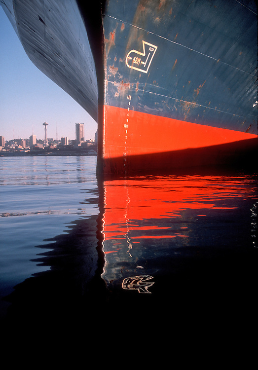 Seattle, Container Ship, Space Needle, Port of Seattle, Elliott Bay, Puget Sound,