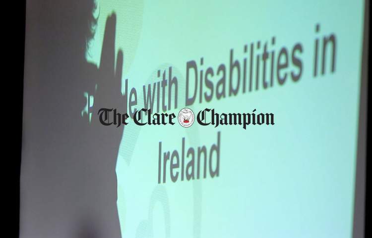 Sign Language Interpretor Sean Gilligan signs at the Clare Network of People with Disabilities in Irelands meeting to mark European Day of people with Disability at the Temple Gate Hotel.Pic Arthur Ellis.