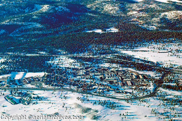 aerial photograph of Truckee, California in winter