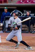 Clinton LumberKings outfielder Braden Bishop (9) at bat during a Midwest League game against the Wisconsin Timber Rattlers on May 9th, 2016 at Fox Cities Stadium in Appleton, Wisconsin.  Clinton defeated Wisconsin 6-3. (Brad Krause/Four Seam Images)