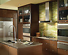 """This custom kitchen features a Peridot jewel glass backsplash using 2"""" x 8"""" bricks from New Ravenna.<br /> <br /> For pricing, samples and design help, please click here:http: //www.newravenna.com/showrooms/"""
