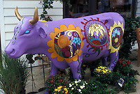 "New Glarus, cow, WI, Wisconsin, ""Little Switzerland"", Painted swiss cow in the town of New Glarus."