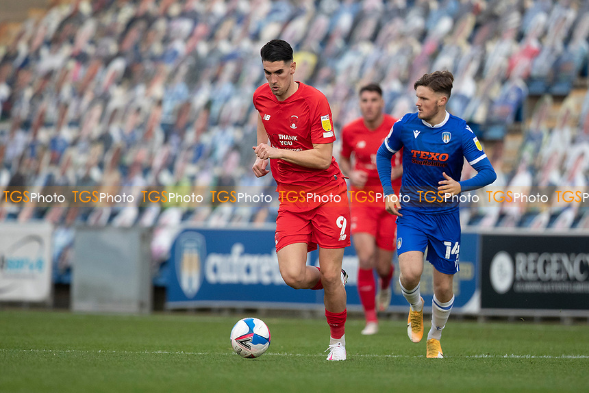 Connor Wilkinson, Leyton Orient brings the ball forward during Colchester United vs Leyton Orient, Sky Bet EFL League 2 Football at the JobServe Community Stadium on 14th November 2020