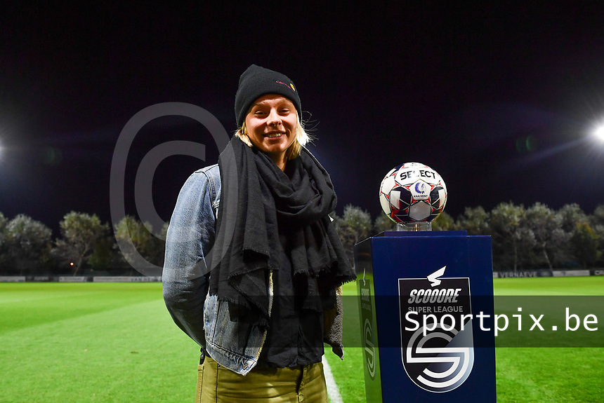 Ella Van Kerkhoven (Gent) pictured posing before a female soccer game between  AA Gent Ladies and Sporting Charleroi Feminin on the fifth matchday of the 2020 - 2021 season of Belgian Scooore Womens Super League , friday 16 th of October 2020  in Oostakker , Belgium . PHOTO SPORTPIX.BE | SPP | DAVID CATRY