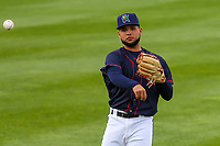Cedar Rapids Kernels second baseman Estamy Urena (13) warms up in the outfield prior to a Midwest League game against the Bowling Green Hot Rods on May 2, 2019 at Perfect Game Field in Cedar Rapids, Iowa. Bowling Green defeated Cedar Rapids 2-0. (Brad Krause/Four Seam Images)