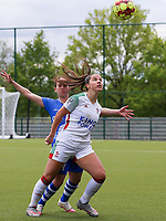 Rkia Mazrouai (2) of AA Gent and Luna Vanzeir (10) of OHL in action during a female soccer game between Oud Heverlee Leuven and AA Gent Ladies on the 9 th matchday of play off 1 in the 2020 - 2021 season of Belgian Womens Super League , saturday 22 nd of May 2021  in Heverlee , Belgium . PHOTO SPORTPIX.BE   SPP   SEVIL OKTEM