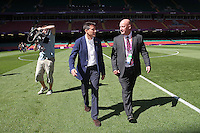 Lord Sebastian Coe meets walks across the pitch with Venue General Manager Peter Withers ahead of Great Britain Women vs New Zealand Women - Womens Olympic Football Tournament London 2012 Group E at the Millenium Stadium, Cardiff, Wales - 25/07/12 - MANDATORY CREDIT: Gavin Ellis/SHEKICKS/TGSPHOTO - Self billing applies where appropriate - 0845 094 6026 - contact@tgsphoto.co.uk - NO UNPAID USE.