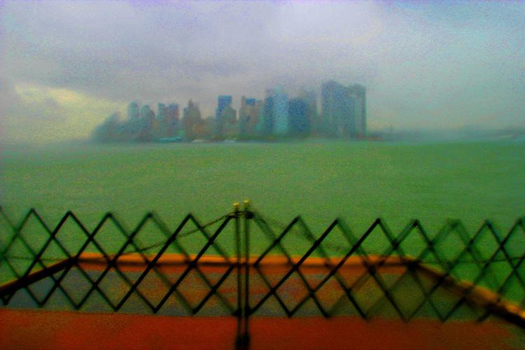 New York, Staten Island Ferry, Manhattan, rain, New York State, East Coast, United States, Saturated image of Manhattan in Post 9-11,