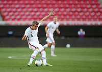 ZAPOPAN, MEXICO - MARCH 21: Jackson Yueill #6 of the United States kicks the ball during a game between Dominican Republic and USMNT U-23 at Estadio Akron on March 21, 2021 in Zapopan, Mexico.