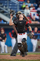 Batavia Muckdogs catcher David Gauntt (7) looks to make a play on a foul ball popup that went out of play during a game against the Auburn Doubledays on June 19, 2017 at Dwyer Stadium in Batavia, New York.  Batavia defeated Auburn 8-2 in both teams opening game of the season.  (Mike Janes/Four Seam Images)