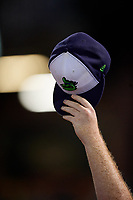 Vermont Lake Monsters Michael Murray raises his hat to the outfielder after a a play during a NY-Penn League game against the Aberdeen IronBirds on August 19, 2019 at Leidos Field at Ripken Stadium in Aberdeen, Maryland.  Aberdeen defeated Vermont 6-2.  (Mike Janes/Four Seam Images)