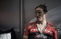 Gregory Rast (SUI/Trek-Segafredo) back in the teambus after the race<br /> <br /> 115th Paris-Roubaix 2017 (1.UWT)<br /> One Day Race: Compiègne › Roubaix (257km)