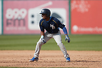 Flemin Bautista (39) of the Myrtle Beach Pelicans takes his lead off of first base against the Lynchburg Hillcats at Bank of the James Stadium on May 23, 2021 in Lynchburg, Virginia. (Brian Westerholt/Four Seam Images)