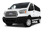 Stock pictures of low aggressive front three quarter view of a 2019 Ford Transit Wagon 350 XLT Wagon Low Roof 60/40 Pass. 148WB 5 Door Passenger Van