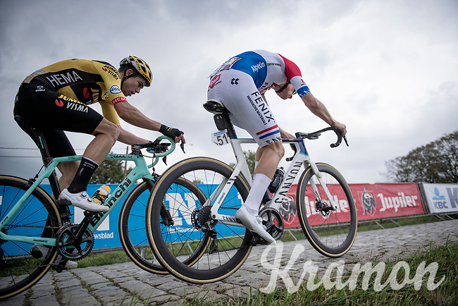 Mathieu Van der Poel (NED/Alpecin-Fenix) & Wout van Aert (BEL/Jumbo-Visma) up the final ascent of the Paterberg<br /> <br /> 104th Ronde van Vlaanderen 2020 (1.UWT)<br /> 1 day race from Antwerpen to Oudenaarde (BEL/243km) <br /> <br /> ©kramon