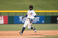 Mesa Solar Sox right fielder Daz Cameron (13), of the Detroit Tigers organization, jogs towards third base during an Arizona Fall League game against the Surprise Saguaros at Sloan Park on November 1, 2018 in Mesa, Arizona. Surprise defeated Mesa 5-4 . (Zachary Lucy/Four Seam Images)
