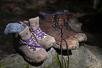 Hiking boots after a day on the trail.
