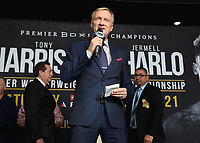 """ONTARIO - DECEMBER 20:  Jimmy Lennon Jr. at the weigh in for the December 21 fight on the Fox Sports PBC """"Harrison v Charlo"""" on December 20, 2019 in Ontario, California. (Photo by Frank Micelotta/Fox Sports/PictureGroup)"""