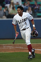 Billy Wilson (4) of the Loyola Marymount Lions during a game against the TCU Horned Frogs at Page Stadium on March 16, 2015 in Los Angeles, California. TCU defeated Loyola, 6-2. (Larry Goren/Four Seam Images)