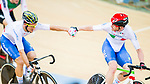 Liam Bertazzo and Simone Consonni of Italy compete in the Men's Madison 50 km Final during the 2017 UCI Track Cycling World Championships on 16 April 2017, in Hong Kong Velodrome, Hong Kong, China. Photo by Marcio Rodrigo Machado / Power Sport Images