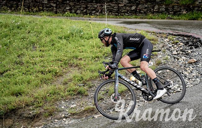 Joris Nieuwenhuis (NED/DSM) descending the Col du Pré (HC/1748m) towards the Barrage de Roselend in, yet again, grim conditions.<br /> <br /> Stage 9 from Cluses to Tignes (145km)<br /> 108th Tour de France 2021 (2.UWT)<br /> <br /> ©kramon
