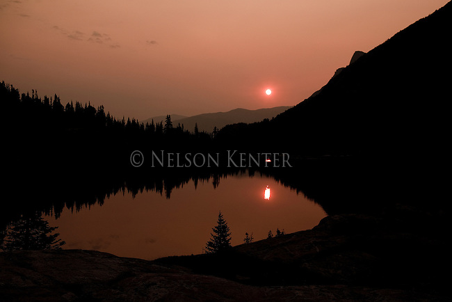 Sunrise over Dewey Lake on the East Rosebud Trail in the Beartooth Wilderness in Montana. The Trail Most Traveled sometimes called the Beaten Path