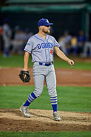 Justin Hoyt (46) of the Ogden Raptors delivers a pitch to the plate against the Orem Owlz at Home of the Owlz on September 11, 2017 in Orem, Utah. Ogden defeated Orem 7-3 to win the South Division Championship. (Stephen Smith/Four Seam Images)