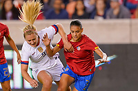 HOUSTON, TX - FEBRUARY 03: Lindsey Horan #9 of the United States and Maria Paula Coto #3 of Costa Rica battle for a loose ball during a game between Costa Rica and USWNT at BBVA Stadium on February 03, 2020 in Houston, Texas.