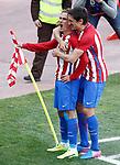 Atletico de Madrid's Antoine Griezmann and Stefan Savic celebrate goal during La Liga match. March 19,2017. (ALTERPHOTOS/Acero)