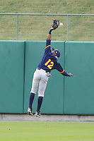 Montgomery Biscuits John Shelby #12 just misses catching a fly ball during a game against  the Tennessee Smokies at Smokies Park in Kodak,  Tennessee;  April 13, 2011.  Tennessee defeated Montgomery 12-2.  Photo By Tony Farlow/Four Seam Images