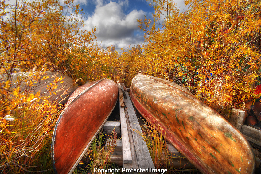 canoes on the shoreline in autumn