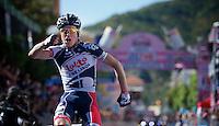 Giro d'Italia stage 12..Lars Bak winning the stage