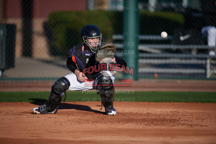 Henry Politz (15) of Jesuit High School in Tampa, Florida during the Baseball Factory All-America Pre-Season Tournament, powered by Under Armour, on January 13, 2018 at Sloan Park Complex in Mesa, Arizona.  (Mike Janes/Four Seam Images)