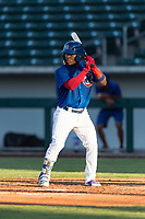 AZL Cubs 1 second baseman Yonathan Perlaza (12) at bat during an Arizona League playoff game against the AZL Rangers at Sloan Park on August 29, 2018 in Mesa, Arizona. The AZL Cubs 1 defeated the AZL Rangers 8-7. (Zachary Lucy/Four Seam Images)