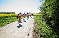 Team Katusha training over the cobbles with Luca Paolini (ITA/Katusha) showing the way<br /> <br /> 2014 Paris - Roubaix reconnaissance