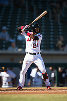 Mesa Solar Sox third baseman Roberto Baldoquin (24), of the Los Angeles Angels organization, at bat during an Arizona Fall League game against the Peoria Javelinas at Sloan Park on November 6, 2018 in Mesa, Arizona. Mesa defeated Peoria 7-5 . (Zachary Lucy/Four Seam Images)