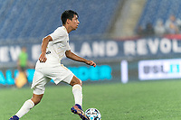 FOXBOROUGH, MA - AUGUST 5: Luis Arriaga #8 of North Carolina FC dribbles during a game between North Carolina FC and New England Revolution II at Gillette Stadium on August 5, 2021 in Foxborough, Massachusetts.