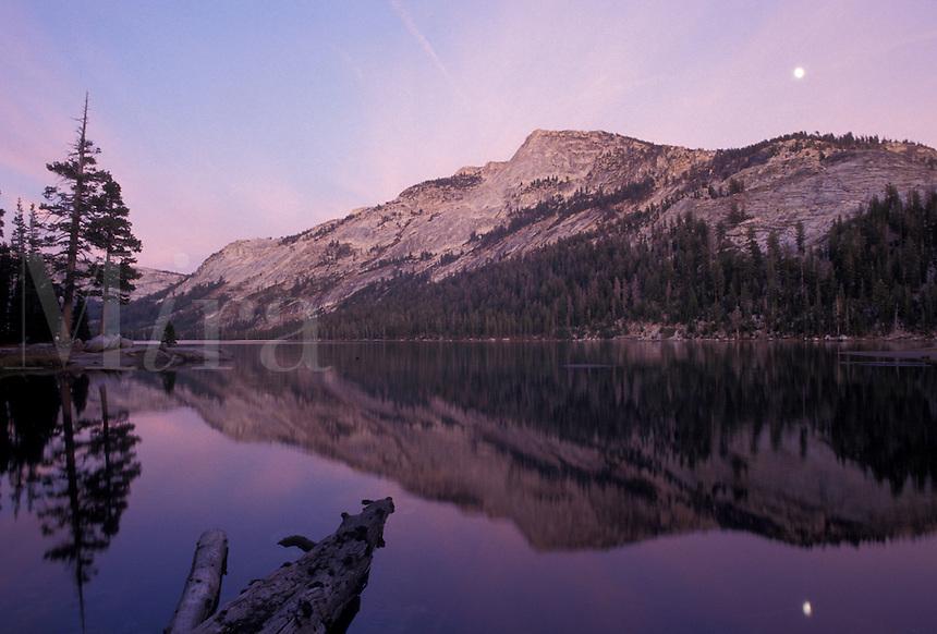 AJ3801, Yosemite, Yosemite National Park, mirror, Sierra Nevada Mountains, California, Moon rise and reflection on the calm waters of Tenaya Lake in Yosemite Nat'l Park in the state of California.