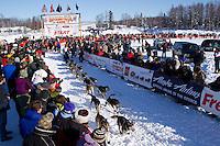 Sunday, March 4, 2012  Karin Hendrickson leaves the Restart of Iditarod 2012 in Willow, Alaska.