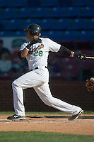 Winston-Salem third baseman Javier Castillo (28) follows through on his swing versus Frederick at Ernie Shore Field in Winston-Salem, NC, Sunday, May 6, 2007