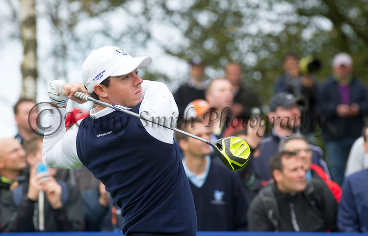 Irishman Rory McIlroy tees off at the 7th hole during a practice session at Gleneagles Golf Course, Perthshire. Photo credit should read: Kenny Smith/Press Association Images.