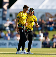 David Payne (L) of Gloucestershire is congratulated after bowling Joe Denly during Kent Spitfires vs Gloucestershire, Vitality Blast T20 Cricket at The Spitfire Ground on 13th June 2021